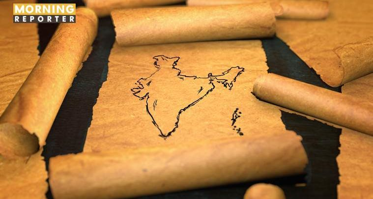 India Map Drawing Unfolding Old Paper Scroll 3D