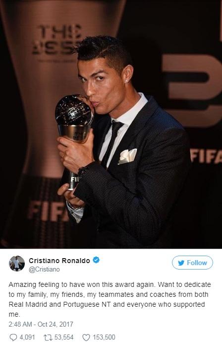 Cristiano Ronaldo Best Men award by FIFA