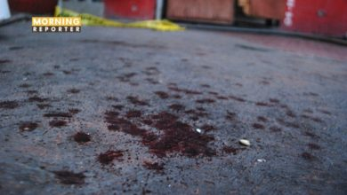 Blood is seen at a crime scene outside a bar in Monterrey